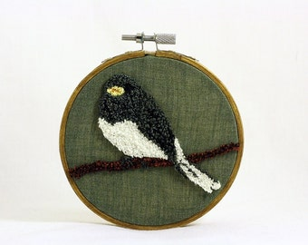 Dark-Eyed Junco Punchneedle Embroidery Hoop Wall Art 4 Inch Hoop. Fiber Art. Home Decor. Bird Art. Green, Gray, Brown. Winter