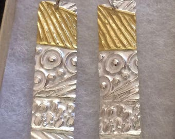 gold and silver earrings, geometric pattern, mixed metal jewelry, art jewelry, gift for mom, silver, gold, gift for her, gift for wife