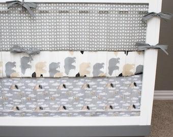 Tan and gray nursery etsy for Mountain crib bedding
