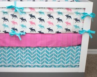 Moose Baby Bedding Girl, Woodland Girl Crib Bedding, Pink and Aqua Blue Moose, Pink, Navy and Aqua Crib Bedding, Moose Nursery Girl