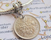 1967 Lucky Silver Sixpence British Coin European Charm Fits Pandora - Bracelet Not Included