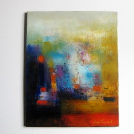 """Father's Day gift for Men dads office husband studdy teens play room oil on canvas 16""""x20""""  Abstract abstract painitng"""