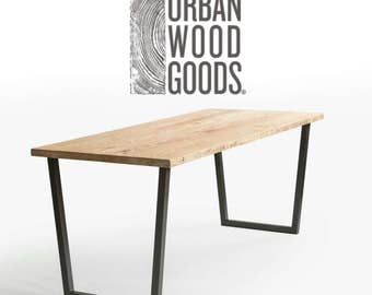 "Urban Loft Reclaimed Wood Desk, natural finish/1.65"" thick wood top in pic 1. Choose size, style and wood thickness/finish."