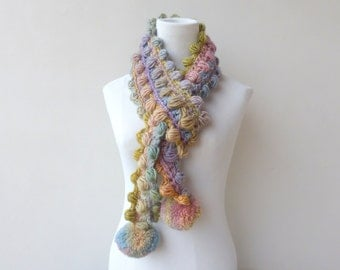 Pastels Scarf Pompom Scarf Crochet Pink Scarf Multicolor Unique Scarf colorful Winter Scarf