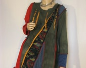 XL to 1X Red and Green Tunic Dress