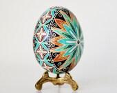 Blue Pysanka Trendy Ukrainian Easter egg fertility amulet wedding keepsake unique gift for him or her parents gift idea new couple or baby