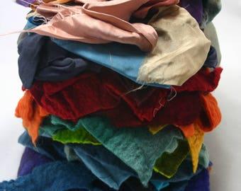 Fabric scraps, handmade wool felt, hand dyed silk and cotton fabrics #2