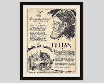 Titian, Vintage Art Print, Classroom Art, Art Teacher Gift, Art Student Gift, Artist Gift, Classic Art, Italian Renaissance Art, Art History