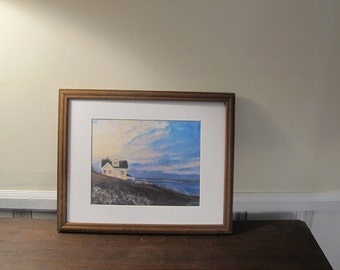 Print House By The Sea, Matted, 11 x 14 in Mat Ready to be Framed