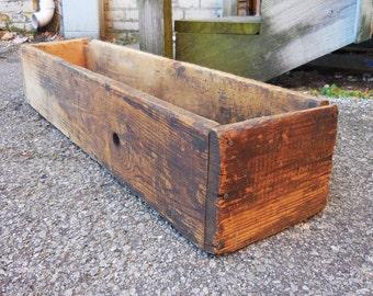 Vintage Wood box long narrow flower box tool storage Primitive Rustic window planter garden home