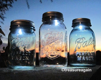Mason Jar LED Light Lids Battery Powered Mason Jar Lids with On/Off Switch, Upcycled Lighting, No jars