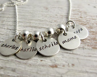 Hand Stamped Grandmother Necklace, Family Charms, Grandkids Names, Personalized Jewelry, 4 to 8 charms, Christmas Gift