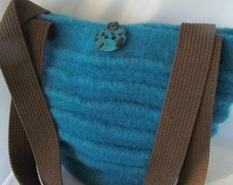Aquamarine Knitted and Fulled Bucket Bag