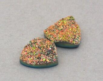 Golden Agate Druzy cabochons trillion cut two 15X15mm C2