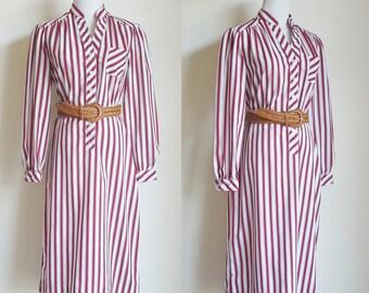 Vintage Shirt Dress, Red and White Striped Dress, Long Sleeve Dress, Yoke Dress, 80s Dress, Collarless Dress, Stripe Dress, PetiteLarge