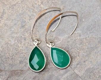 Green Agate Earrings, Gemstone Earrings, Green Earrings, Sterling Silver Earrings, Holiday Earrings, Green Agate Jewelry, Christmas Earrings