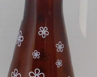 Vintage Anchor Hocking Brown Flowered Syrup Container