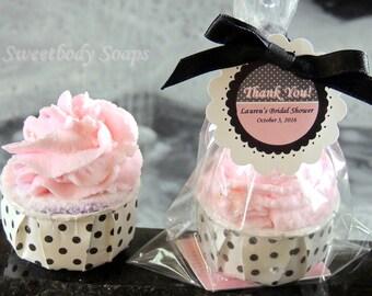 Set of 10 Bubble Bath Cupcake Party Favors Bath Bomb Fizz Fizzy Fizzie Party Favors with custom tags
