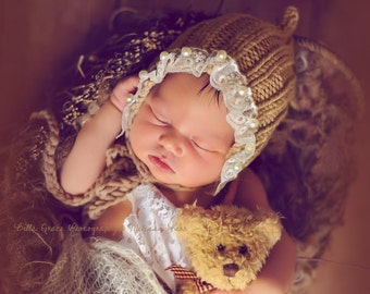 Toffee Brown Lace Pearl Cotton Knit Baby Bonnet Newborn Photography Prop