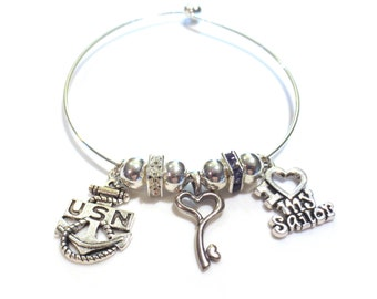 Navy Hearts Bracelet, Blue & White Rhinestone Spacers, Key to the Heart, Silver Bangle Bracelet, I Heart My Sailor, U.S. Navy, Gift for Her