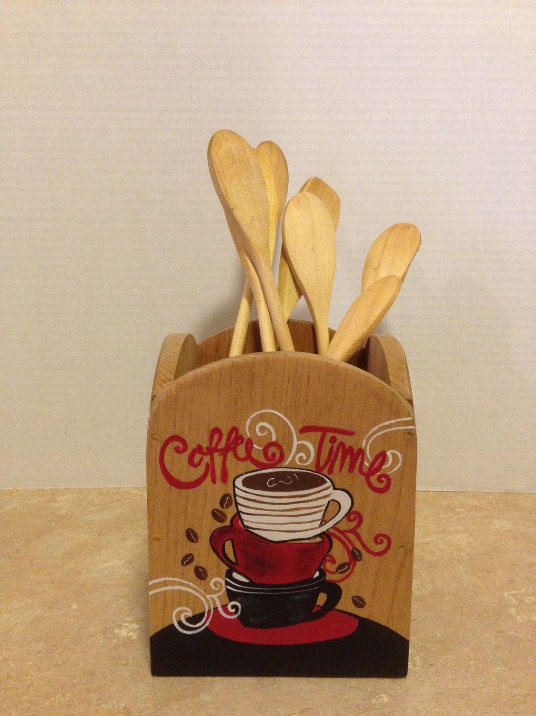 Coffee Decor For Kitchen Utensil Holder Kitchen Utensil Holder Wooden Utensil Holder