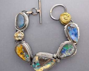 RESERVED  please don't buy...Five Opals with golden Flowers