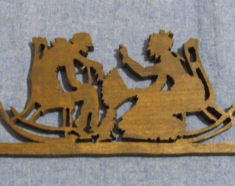Wood Carving of Old Couple, Happy Anniversary Gift, Wedding Gift