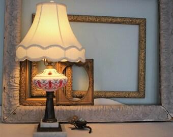 Antique Electrified Bohemian Cut Glass Oil Lamp