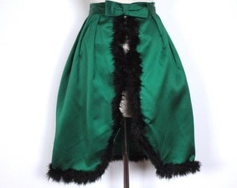 Vintage 1950s Dress // 50s 60s Emerald Green Satin Tulip Skirt with Marabou Feather Trim and Open Front // Bow Sash // DIVINE