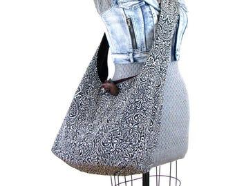 Cross Shoulder Bag - Gift for Vegan - Crossbody Hobo Bag - Hippie Bag for Women - Boho Bag - Sling Bag - Vegan Bag - Black and White Bag