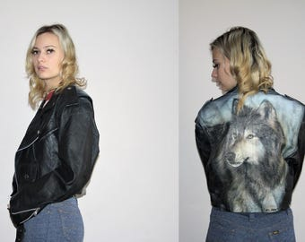 Hand Painted One of a Kind Rare Vintage 80s Genuine Leather Painted Wolf Spirit Animal Moto Glam Cropped Jacket - 80s Clothing - WV0068