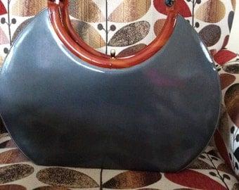 Vintage 1950s Handbag Purse HUGE Dark Grey Patent/Vinyl Marbled Lucite bobbie jerome Rare Size Fabulous Bag