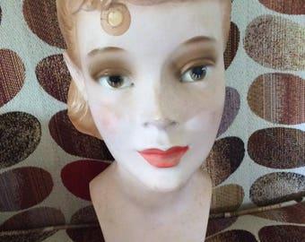 Vintage 1940s 1950s Mannequin Head Display Teenage Girl Plaster Genuine Vintage Hat Display Home Decor Statue # 99