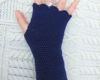 Navy Blue Wristwarmers, Wool Arm Warmers, Crochet Pulse Warmers, Hand Crocheted Wrist Warmers Ocean Blue Fingerless Gloves