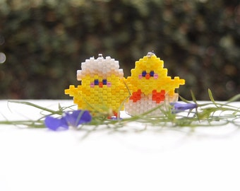 SALE: 2 Yellow Spring Chicks Charms, Lobster Claw Clasp, Miyuki Delica Bead Weaving