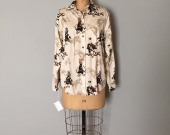 SALE...equestrian horse print blouse | 90s cotton shirt