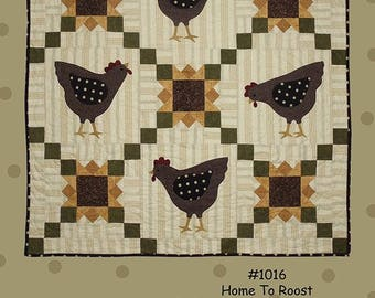 Primitive Folk Art  Applique Quilt Pattern - HOME TO ROOST - Design by Bonnie Sullivan