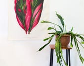 Botanical Fabric wall art/ Dracena leaf drawing wall hanging/ Floral wall decor/ Vintage wall art/ Botanical drawing/ plant decor/ leaves