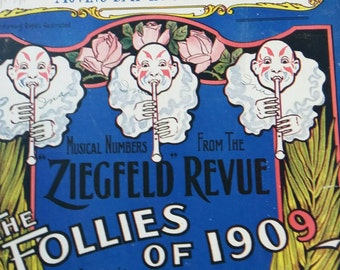 Antique Sheet Music Ziegfeld Revue The Follies of 1909 Moving Day in Jungletown Vintage Paper Ephemera Art Paris Theatre Naughty Girl Clown