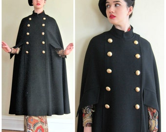 Vintage 1960s Black Wool Cloak by Modalia / 60s Maxi Cloak Mod Cape