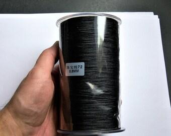 Nylon Cord - knotting/beading cord - 0.8mm - 780 meter - 2559 foot - Black - BR2