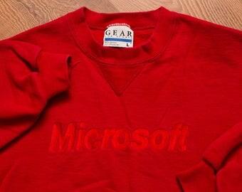 Microsoft Logo Red Sweatshirt, Vintage 90s, Windows 95 Software, Long Sleeve Crewneck Shirt, Computer Technology Nerd, Computing Techie Geek