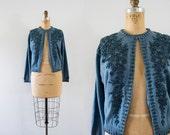 1950s Royal Grapes beaded acrylic cardigan / 50s blue knit