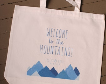 Custom Personalized Mountain Wedding Tote Bag - wedding welcome bags, wedding favors, bridal party gifts