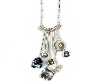 Sterling Silver Waterfall Necklace with Keshi Pearls