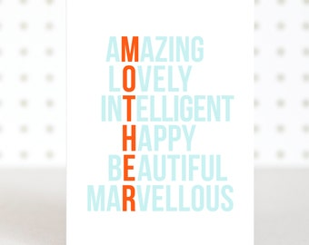 Amazing Mum - Mother's Day Card - Funny Mother's Day Card - Crossword Card