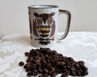 Vintage Owl Mug Ceramic Stoneware Pottery, Big Eyed Bird on Branch, Bohemian Decor