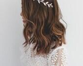 silver leaf crown // silver leaf flower crown / silver leaf headband / simple minimalist silver headpiece, spring racing, wedding bridal