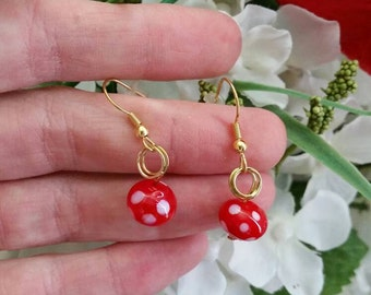 Red and White Polka Dot Glass Bead Earrings - Gifts for Girls