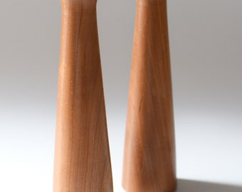 Vintage Wooden Candle Sticks Don Droz for Lauffer Small Cherry Wood